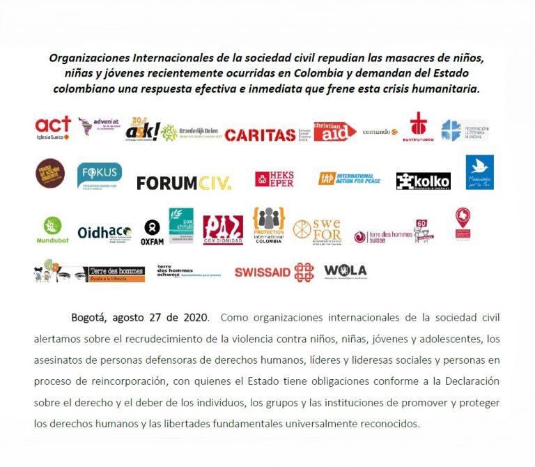 Repudio a las masacres de niñas, niños y jóvenes en Colombia