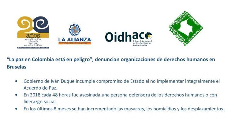 Organizaciones de derechos humanos en Bruselas denunciamos que la paz en Colombia está en peligro