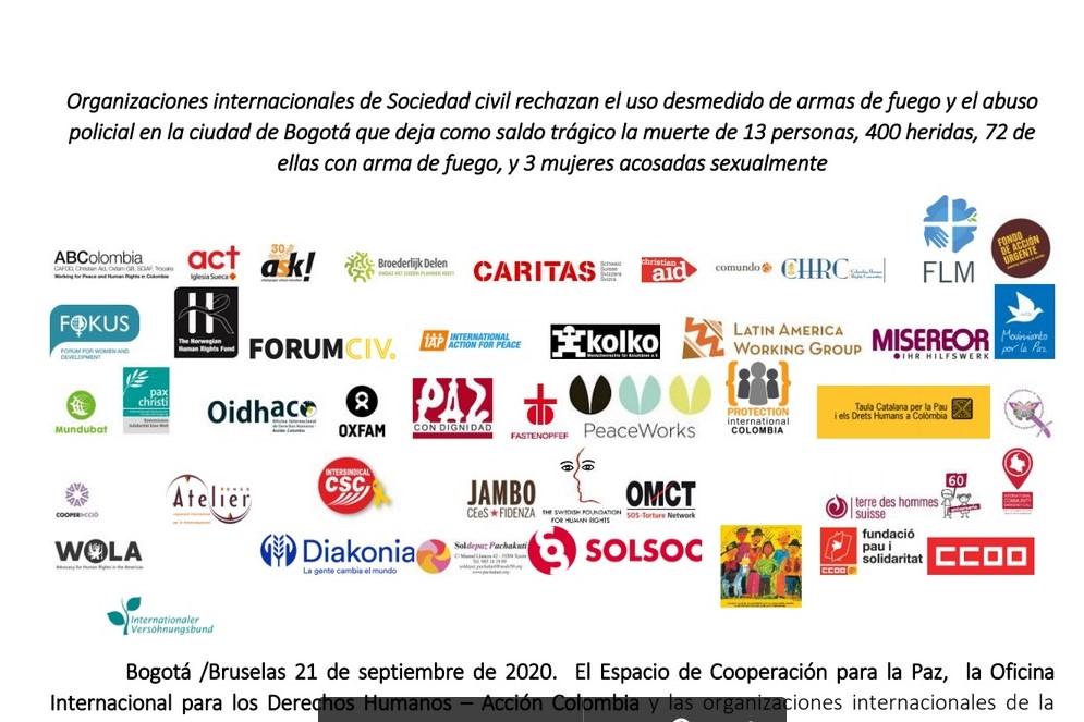 Rechazamos el uso desmedido de armas de fuego y el abuso policial en la ciudad de Bogotá