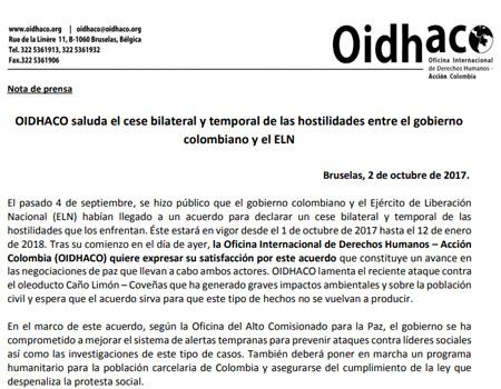 OIDHACO saluda el cese bilateral y temporal de las hostilidades entre el gobierno colombiano y el ELN