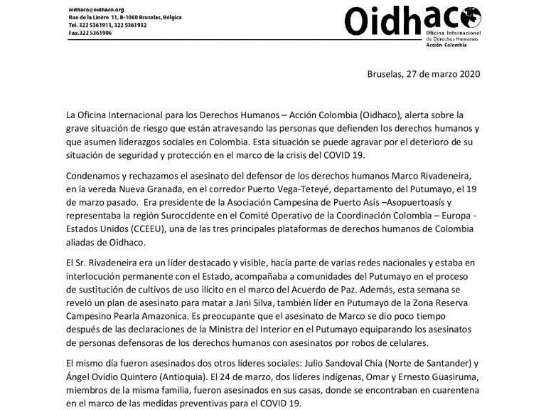 Denuncia internacional ante asesinatos y situación de líderes y personas defensoras de Colombia en la crisis de COVID 19