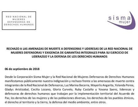 La Red Nacional de Mujeres Defensoras rechaza las amenazas de muerte a defensoras y lideresas y exige garantías integrales