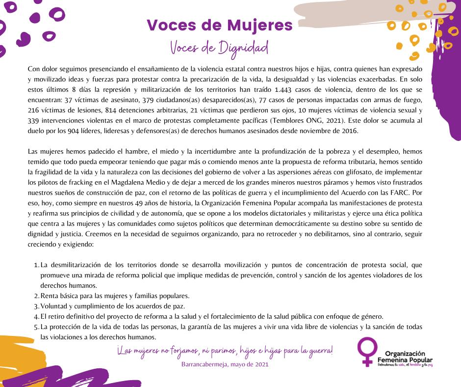 Voces de mujeres: Voces de dignidad frente a la violencia estatal